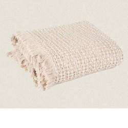 couvre-lit gauffré coton 240x260 Tempo lin