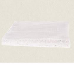 couvre lit gaze de coton 240X260 Vanly ivoire